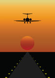 Airplane Coming in to Land. Passenger airplane coming in to land on airport runway Vector Illustration