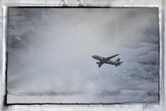 Airplane 14. A commercial airplane flying in the sky Stock Image