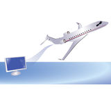 Airplane and computer Royalty Free Stock Photo