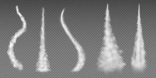 Airplane condensation trails. Plane smoke rocket stream effect airplane jet cloud flight speed burst. Aircraft condensation line vector illustration