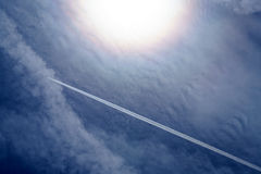 Airplane contrails Royalty Free Stock Photos