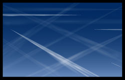 Airplane Contrails Blue Sky Stock Photography