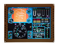 Airplane control panel. Isolated over white background Royalty Free Stock Photography
