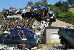 Airplane crash. Burning plane after the crash stock image