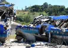 Airplane crash. Burning plane after the crash stock photography
