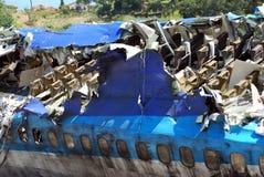 Airplane crash. Burning plane after the crash royalty free stock image