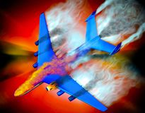 Airplane crash. With fire flames and smoke Stock Photography