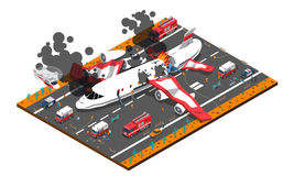 Airplane Crash Isometric Composition. Isometric composition with airplane crash on roadway and rescue service including police ambulance fire brigade vector Stock Photos