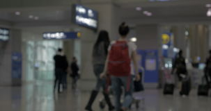 Airplane crew and passengers in the airport terminal stock video