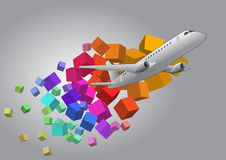 Airplane cubes Royalty Free Stock Image