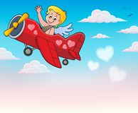 Airplane with Cupid theme image 4 Royalty Free Stock Photos