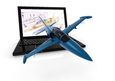 Airplane 3D modeling. 3D render image representing airplanes engineering with 3D softwares Royalty Free Stock Photography