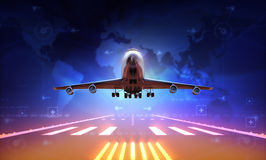 Airplane. 3d Airplane over runway and world map Royalty Free Stock Photo