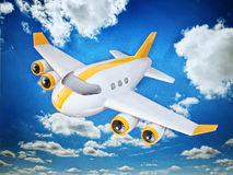 Airplane. 3d  airplane  on a sky  background Stock Image