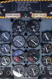 Airplane dashboard with circular instruments Stock Photography