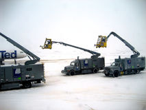 Airplane Deicing Operations v2. Airplane Deicing Operations at Denver's International Airport during a blizzard stock photo