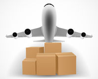 Airplane delivery concept with pile of packages Stock Images