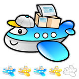 Airplane delivery Illustration. Product and Distribution System Royalty Free Stock Photo