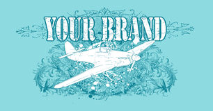 Airplane design. Cyan floral airplane T-shirt design with room for text Stock Photography