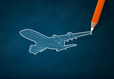 Airplane design. Pencil drawing sketch of airplane on color background Royalty Free Stock Images