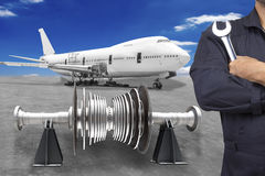 This airplane is disassembled to basic parts and workers and eng Royalty Free Stock Photo