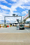 Airplane docking Stock Photos
