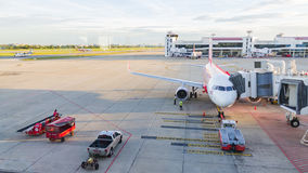 Airplane at Don Mueang International Airport on August 22 2015 i Stock Image