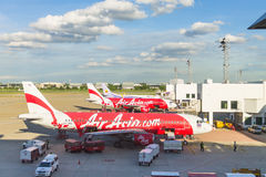 Airplane at Don Mueang International Airport on August 22 2015 i Royalty Free Stock Image