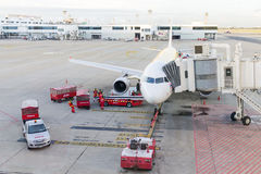 Airplane at Don Mueang International Airport on August 22 2015 i Stock Photo