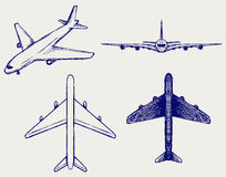 Airplane. Doodle style. Vector sketch Royalty Free Stock Image