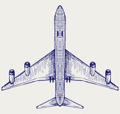 Airplane. Doodle style. Vector sketch Stock Image