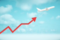Airplane dragging chart arrow Royalty Free Stock Photography