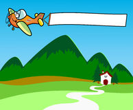 Airplane while dragging a white banner. Illustration depicting an airplane while dragging a white banner. The aircraft is flying over the mountain in the Royalty Free Stock Photography