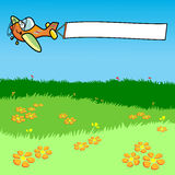 Airplane while dragging a white banner. Illustration depicting an airplane while dragging a white banner. The aircraft is flying over a meadow in bloom Stock Image