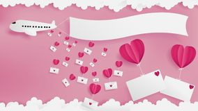 Airplane drops love mails then flowing by red balloon. Heart for each envelope.Two empty front of envelopes are on the right of artwork.Empty flag pulling by Royalty Free Stock Photography