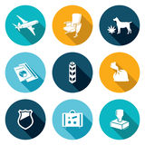 Airplane Drug trafficking Icons Set. Vector Illustration. Stock Photos