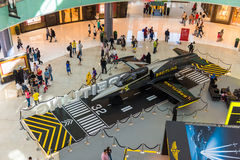 Airplane in Dubai Mall shopping center. UAE, DUBAI - DECEMBER 25: airplane in Dubai Mall shopping center on December 25, 2014 Royalty Free Stock Photo