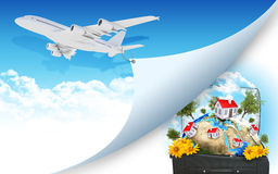 Airplane and Earth with buildings in travel bag Stock Photos