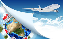 Airplane and Earth with houses Royalty Free Stock Photo