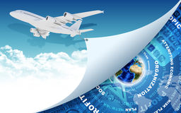 Airplane and Earth with money as backdrop Stock Photo