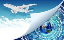 Airplane and Earth with money as backdrop. Airplane pulls the rope edge of paper. Earth with money as backdrop. Elements of this image are furnished by NASA Stock Photo