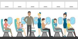 Airplane ecenomy interior. Airplane economy class interior. Flying attendants and passengers royalty free illustration