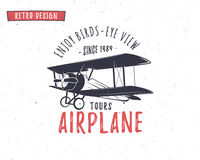 Airplane emblem. Biplane label. Retro Plane badges, design elements. Vintage prints for t shirt. Aviation stamp. Air Stock Photos