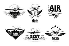 Airplane emblems vector labels Stock Images