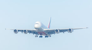 Airplane Emirates A6-EOO Airbus A380-800 is landing at Schiphol airport. Royalty Free Stock Images