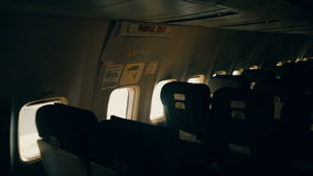 Airplane empty seats stock footage
