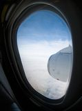 Airplane engine. Jet engine through the window of and aircraft Stock Photography