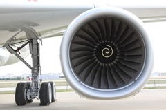 Airplane engine. An airplane engine from apron Stock Photos