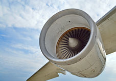 Airplane engine. Aviation engine under a airplane wing Royalty Free Stock Photos