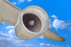 Airplane engine. Aviation engine under a airplane wing Stock Images